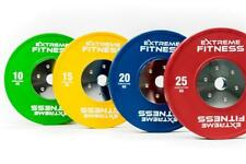 """EXTREME FITNESS® OLYMPIC RUBBER BUMPER WEIGHT PLATES COLOURED GYM CROSSFIT 2"""""""