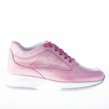 HOGAN women shoes Interactive pink washed leather sneaker