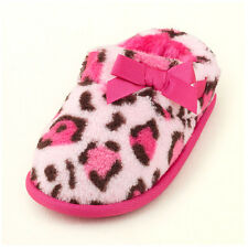 THE CHILDREN'S PLACE Girls Faux Fur Animal Leopard Scuff Print Slippers PINK NWT