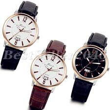 Fashion Classic Leather Strap Calendar Date Dial Mens Quartz Analog Wrist Watch