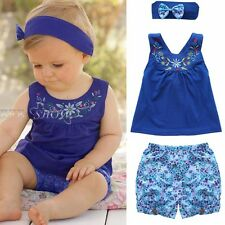 3PCS Floral Newborn Infant Kid Baby Girl Headband+Top Shirt+Pants Outfit Clothes