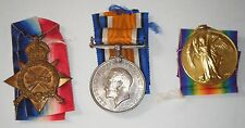WW1 Medals: 1914-15 Star; British War Medal; Victory Medal