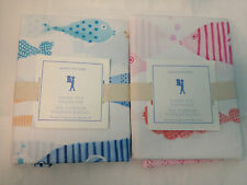 Pottery Barn Kids FUNNY FISH Pillowcase Ocean Sea Bedroom Bed Blue New