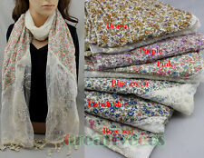 New Stylish Sweet Soft Cottons Floral And Lace Long Scarf Shawl Wrap Tassel Trim