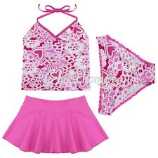 Kids Girls Three Piece Halter Tankini Set Swimwear Bikini Swimsuit Bathing Suit