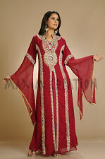 New Georgette Arabian Robe Maghribi Farasha Party Wear Kaftan Maxi Dress 3182