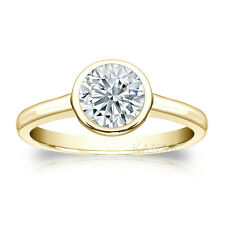 1.00ct Real Diamond Solitaire Engagement Ring Bezel Set SI 14KT Yellow Gold