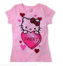 HELLO KITTY Girls Pink SweetHeart Glitter Valentine Tee Shirt T-Shirt ~ S M L XL