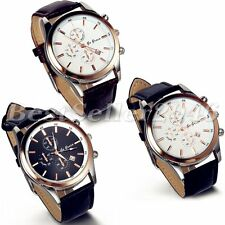 Fashion Business Date Dial Watches Leather Band Mens Analog Quartz Wrist Watch