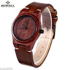 Fashion Lady Women Female Quartz Watch Leather Strap Wooden Wristwatch