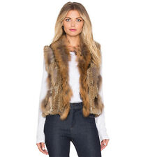 100% Fur Vest Raccoon Fur Collar Hand Knitted Rabbit Fur Gilet Ladies Coat V0102