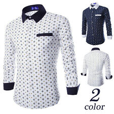 Fashion Mens Luxury Stylish Casual Long Sleeve Dress Shirts Slim Fit Shirts 432