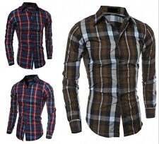 New Men's Luxury Casual Plaids Shirts Slim Fit Long Sleeves Dress Shirts Tops 4f
