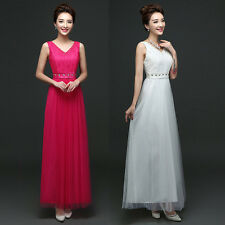 Women Maxi Gown V-Neck Wedding Formal Long Tulle Bridesmaid Evening Prom Dress