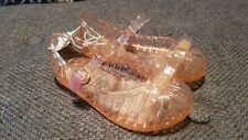 New Old Navy Toddler Girls Pink Glitter Bow Basket Weave Jelly Sandals 5 7 9