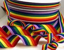 GAY PRIDE RAINBOW RIBBON GREAT QUALITY 10mm 25mm 35mm GROSGRAIN 3M OR FULL ROLL