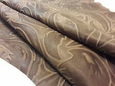 Lambskin Genuine Leather Hide Embossed Classic Damask Beige 1.5 oz.