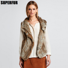 New Thick Coat 100% Real Genuine Knitted Rabbit Fur Free Size Hook Vest V0108
