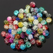 Wholesale Mixed Color Crystal Crack Glass Round Loose Spacer Charm Beads Jewelry
