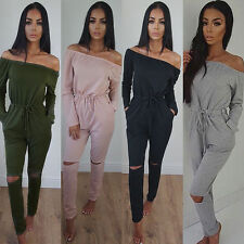 AU Womens Long Sleeve Off Shoulder Rip Knee Tracksuit Playsuit Jumpsuit Romper