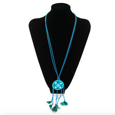 Feather Tassel Rhinestone Pendant Sweater Long Rope Chain Necklace Blue 26.7""