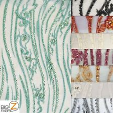 ORIENTAL DRAGON BEADED SEQUINS FABRIC BY THE YARD DRESS DECOR BRIDAL ACCESSORIES