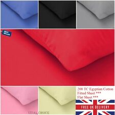 Luxury 100% Egyptian Cotton Fitted Sheets Flat Sheet Single Double King 200TC