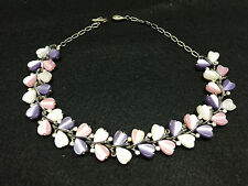 Vtg Lisner Signed Heart Stone & Clear Rhinestones Gold Tone Necklace for Repair
