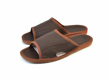MEN'S LEATHER SLIPPERS SHOES MULES BROWN SLIP ON US SIZE 8 9 10 11 12 SALE OPEN