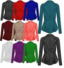 NEW LADIES WOMENS CROP FRILL SHIFT SLIM FIT JACKET PEPLUM BLAZER COAT SIZE 8-24