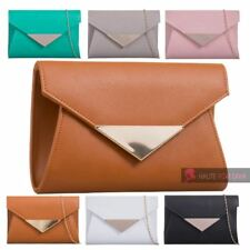 LADIES NEW METAL TRIM CHAIN STRAP FAUX LEATHER ENVELOPE CLUTCH HANDBAG PURSE
