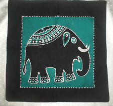 dark green batik elephant cushion cover 18x18 inches hand made in Sri Lanka
