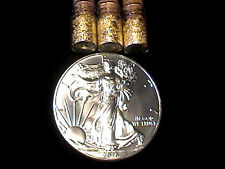 1 OUNCE .999 FINE SILVER 2016 AMERICAN SILVER EAGLE BU + 3 JARS 24K GOLD FLAKES