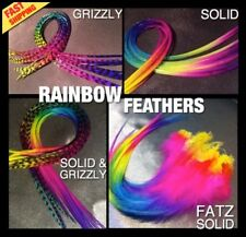 Feather Hair Extensions REAL RAINBOW Grizzly 10Pack 2FREE Tools Beads CraftKit