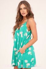 S-M-L Peach Love Palm Trees Dress - Green Pink -PALM TREES - VACATION - BEACH