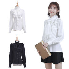 Women Pirate Gothic Stand Up Collar Blouse Cravat & Jabot Shirt Top  USA Ship