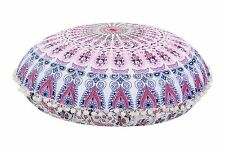 "Large Mandala Floor Poufs Indian Meditation Pillows 32"" Round Tapestry Ottoman"
