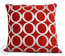 Retro Modern Chenille Cushions - Red Small and Large Scatter Cushion Covers