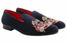 Billionaire Couture Men's Blue Suede Loafers Shoes with Logo Embroidery