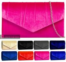 WOMENS NEW VELVET PLEATED FLAP CHAIN STRAP PROM EVENING CLUTCH HANDBAG