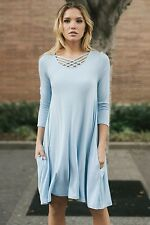 Solid blue rayon spandex tunic top dress w criss cross split neck S M L XL USA