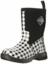 Muck Boots Girl's Breezy Mid Pull-On Rain Boots Black Gingham