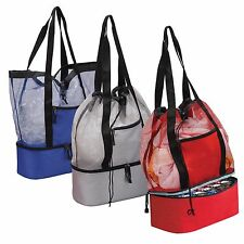 Drawstring Mesh Beach Picnic Tote Bag with 12-Cans Cooler at the Bottom - AP7335