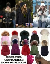 NEW REAL FUR BIG COLOUR POM POM KNITTED WINTER SKI CUSTOMIZABLE BEANIE HAT