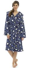 Tom Franks Women's Sheep Print Fleece Hooded Dressing Gown Bath Robe