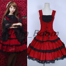 Gothic Sweet Love Lolita Women Dress Layered Sleeveless Lace Cosplay Skirt New