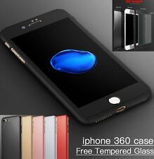 360° Full Body Hybrid Hard Case Cover + Tempered Glass For iPhone 6 6s 7 Plus