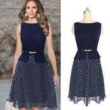 Summer Women Sleeveless Dress +belt Casual Cocktail Party Beach Dress Polka Dot
