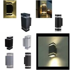 IP44 GU10 LED Compatible Wall Light Square & Curved Up & Down Light Black / Grey