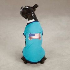 Dog Cat Clothes Apparel  Casual Canine All American Pup Tee Shirt  Blue XSmall
